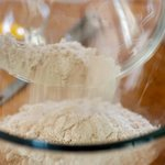 In a large bowl, add the yeast mixture, whole wheat and all-purpose flour.