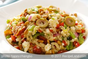 Orzo and Bell Pepper Salad with Edamame, Olives and Feta