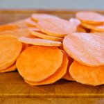 Peel the sweet potato and slice into 1/4-inch slices.