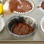 Fill the paper-lined muffin cups 1/3 full.