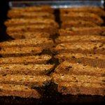 Arrange half of cookies cut side down on cookie sheet.