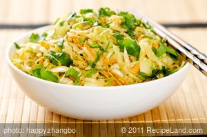 Asian Cabbage Salad with Spicy Peanut Sauce