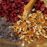 Fold in cranberries, chocolate chips and pecans if desired.