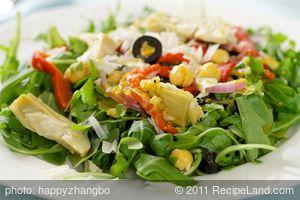 Arugula, Chickpea, Roasted Pepper and Artichoke Salad