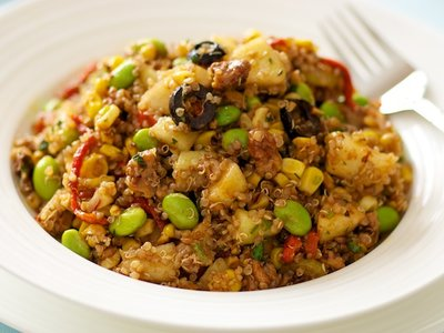 Quinoa, Edamame and Roasted Corn Salad with Apples and Maple Walnuts