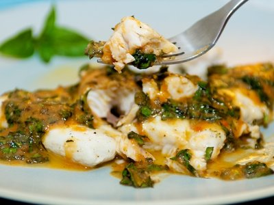 Poached Fish with Tomatoes and Basil