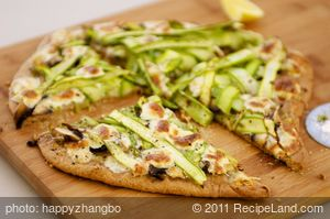 Two Cheese, Shaved Asparagus and Mushroom Pizza