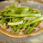 Place shaved asparagus over the cheese and mushrooms.