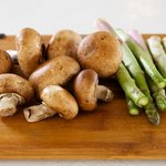 Let's start with asparagus and mushrooms.