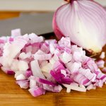 Chop 1/2 red onion or 1 shallot.