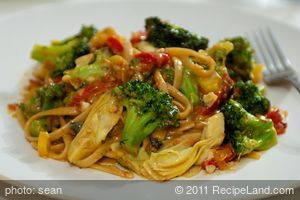 Broccoli, Fettuccine and Artichoke Hearts in Warm Sun-Dried Tomato Cream Sauce
