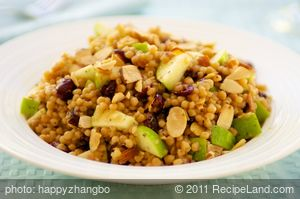Israeli Couscous, Apple and Cranberry Salad with Toasted Almonds