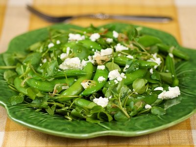 Sugar Snap Watercress Salad with Warm Sesame Dressing