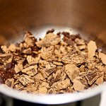 Next in a small saucepan, add the chopped chocolate chunks.