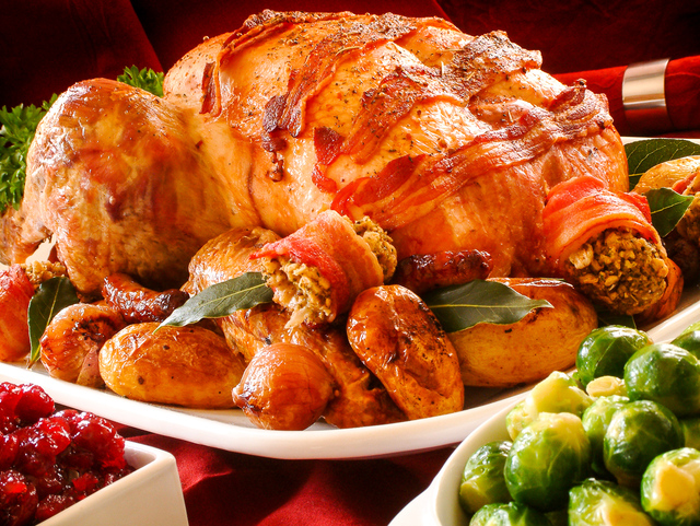 Perfect roast turkey with bacon