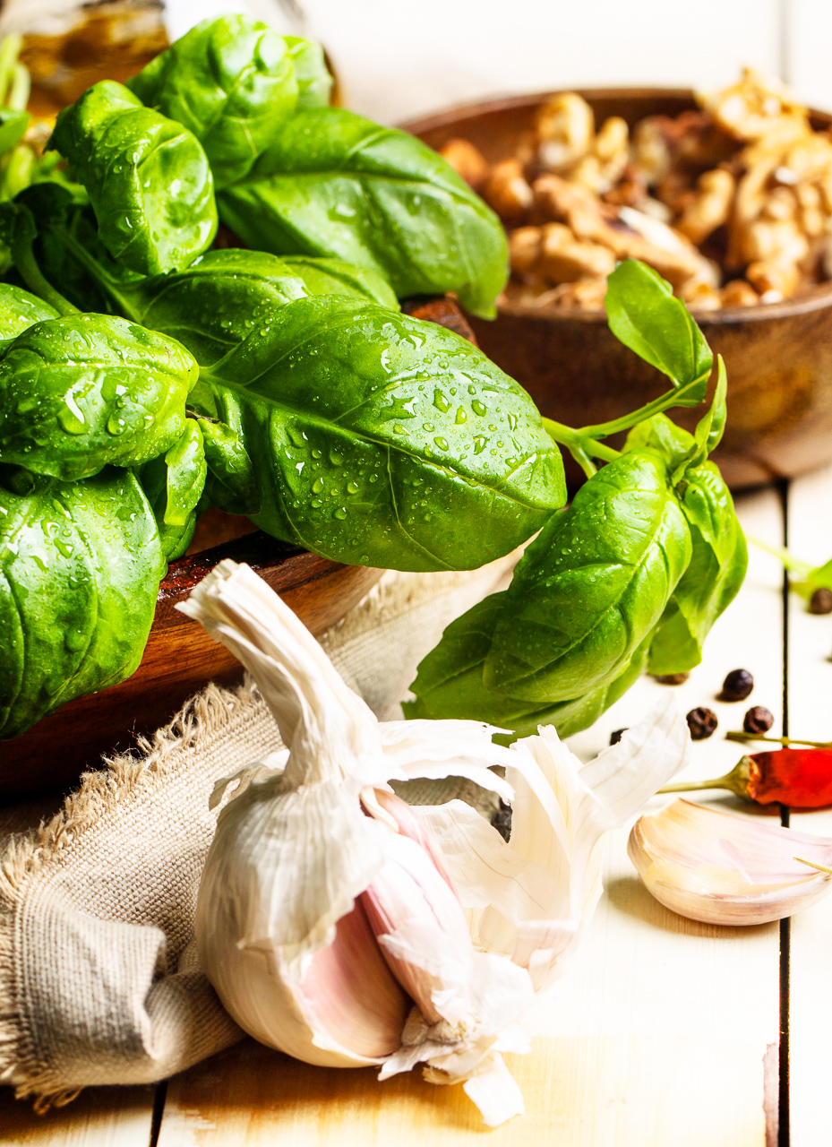 Fresh basil, garlic and walnuts