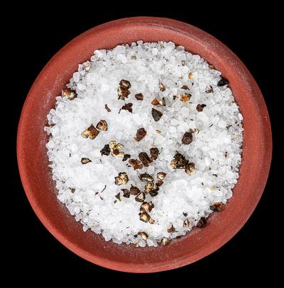 Coarse sea salt and cracked black pepper