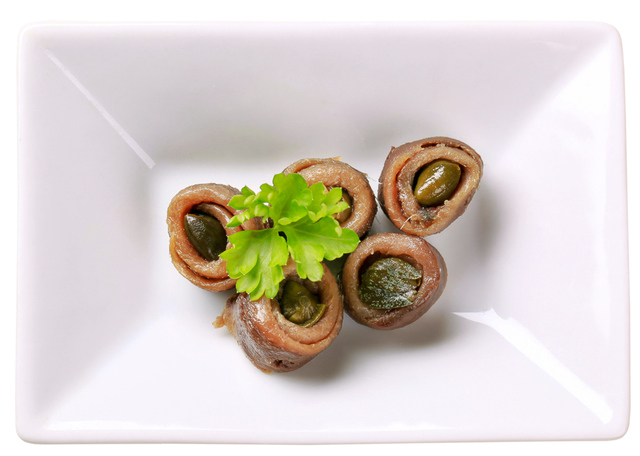 Rolled anchovy fillets