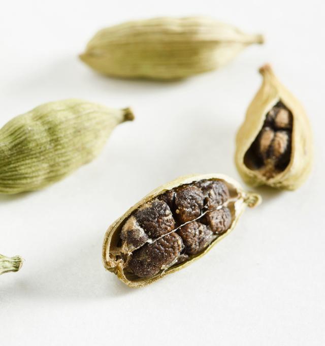 Closeup of cardamom pods
