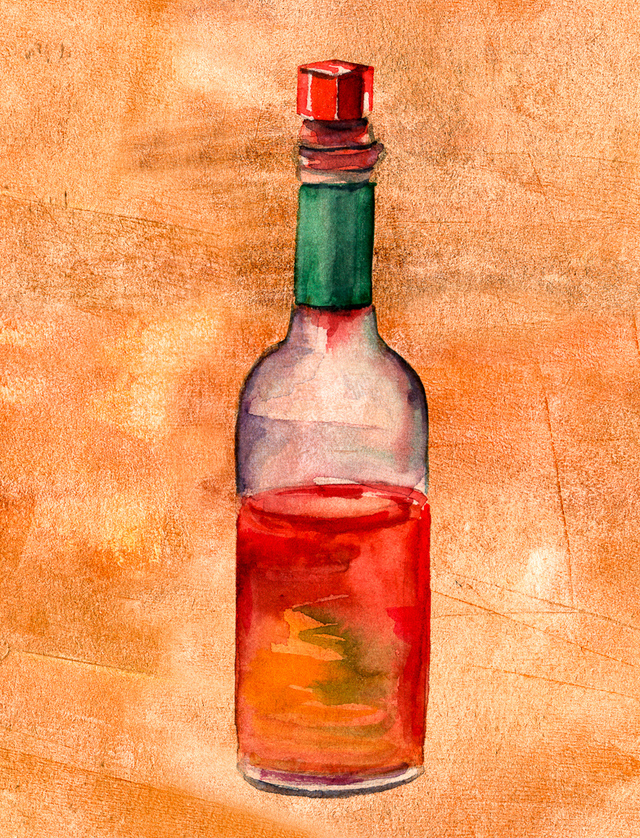 drawing of Tabasco sauce bottle