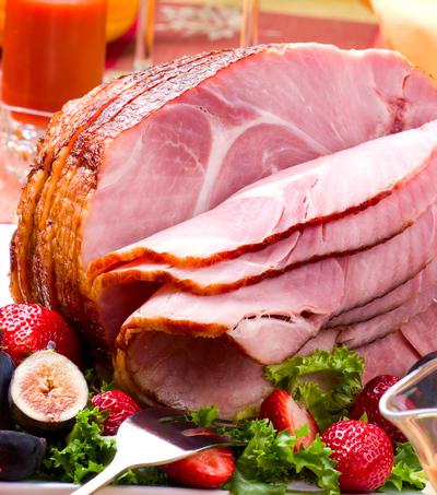 whole baked ham, sliced