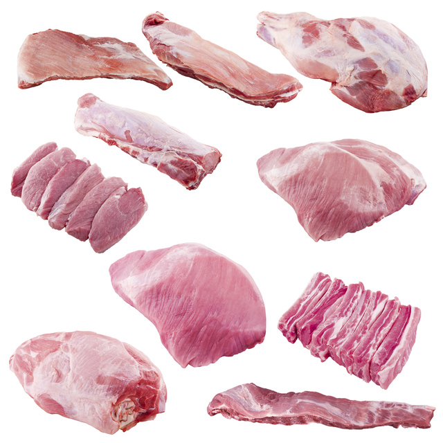 variety of pork cuts