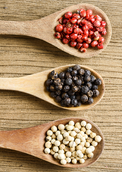black, red and white peppercorns