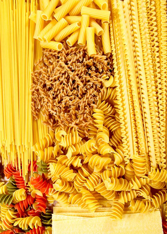variety of dried pastas