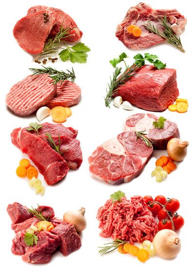 A variety of cuts of beef