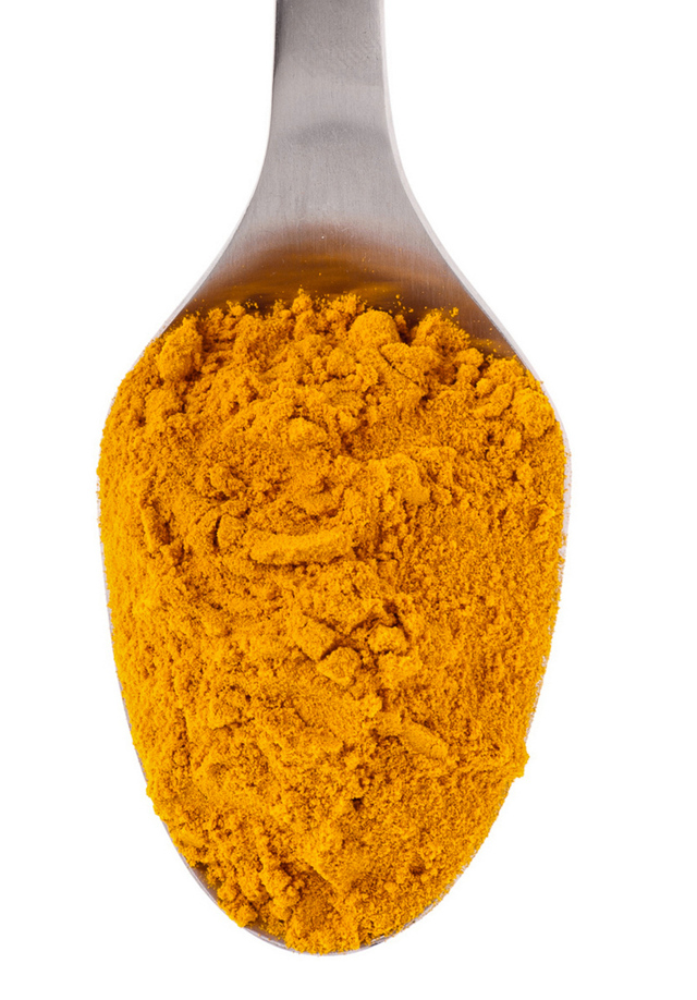 ground turmeric on spoon