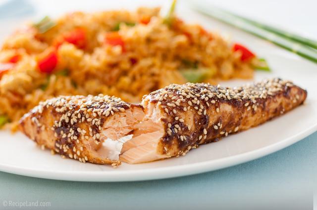Asian salmon, beautifully flaky