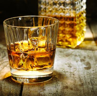 Glass of bourbon whiskey