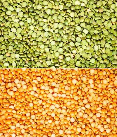 yellow and green split peas