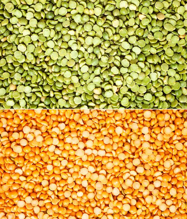 yellow and green split peas